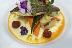 Sea Bream with Confit Potatoes in a Parsnip Puree